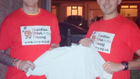Chris (left) and Robin will run the London Marathon in memory of Nick Read