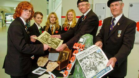 Year 9 pupils Martha,Dani,Kit and Henry with members of Clevedon Royal British Legion, Ian Mottram a