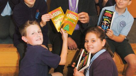 Childrens author Jeremy Strong with pupils.