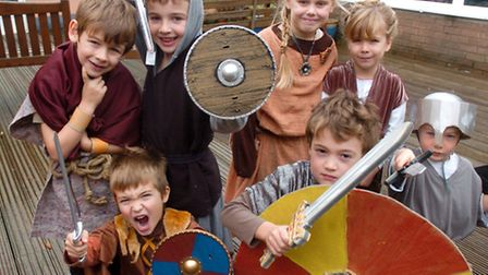 History day pupils dressed up as Saxon and Normans.