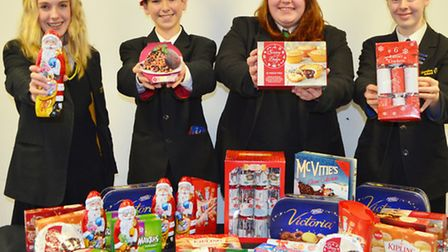 Clevedon School pupils with donations for the foodbank