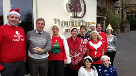 Some of the team at Cadbury House in their festive knits