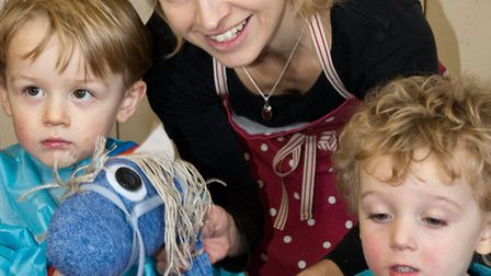 Sophy Booker and her newly-formed crafts business,'Crafty Little Kids', at Weston Museum.