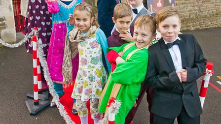 Bollywood pupils on the red carpet for their film premiere.