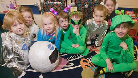 Aliens and space explorers at St Peter's Primary School.