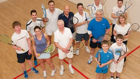 Weston Squash and Racketball Club with (right) Chairman Paul O'Connor and (far right) Coach Sally Th