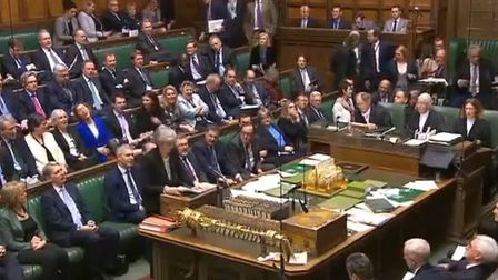 Theresa May takes to her feet in the Commons after the vote on the Brady amendment was won