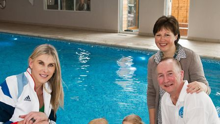 Olympic medalist Sharron Davies with Martin and Deb Ford and their children Dougie and Naomi.