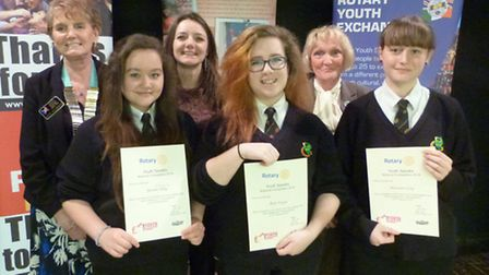 Youth Speaks contestants Hannah, Beth and Sabrina with their highly commended certificates