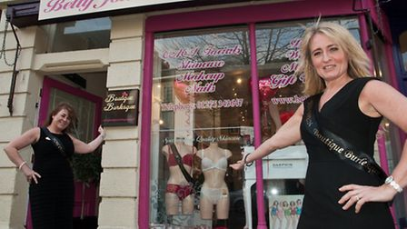 Sue Robinson and Lesley Stokes with their new underwear shop which is in the same unit as Betty Jone