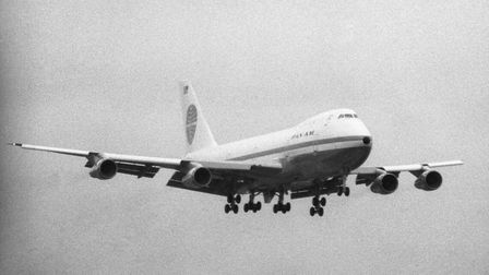 Pan American Airways massive new Boeing 747 jumbo jet comes in to land at Heathrow Airport.