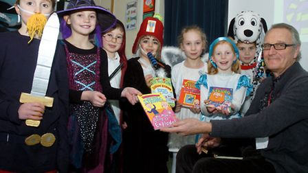 Author Jeremy Strong with pupils, Backwell Junior School.