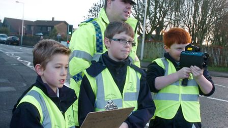 Golden Valley School Nailsea speedwatch with pupils Elliot,Tom and Ewan and PCSO Justin Robbie.
