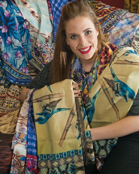 Joanna Allsop with her printed scarves.