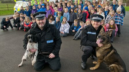 Trixie nine year old drugs and firearms sniffer dog with her handler PC Andy Hennys and Troy four an