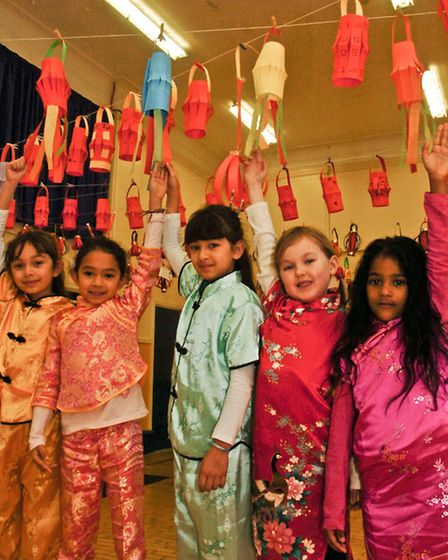 St Nicholas Chantry Primary School, Clevedon, Pupils with their lanterns for Chinese New Year.