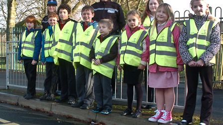 Police donated hi vis jackets, PCSO Caroline Harris and Pc Dave Hughes to pupils from Yeo Moor Prima