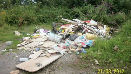 Fly tipping at South Hill Farm in Bleadon.
