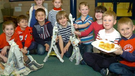 St John The Evangelist SchoolClevedon children dressed in red white and blue for French day.
