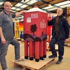 Organiser Paul Plume and helper Les Roper with the Petal lighthouse, believed to be destined for Bur
