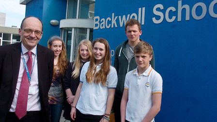 Backwell School headteacher Julian Baldwin with pupils celebrate outstanding ofsted.