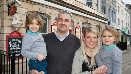 Claudio De Carlo, his partner Lucy White and his sons Luca-Loui and Beau-Gian outside The Imperial i