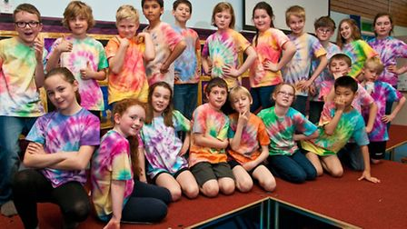 Pupils with their tie-dye t-shirts.