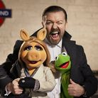 Ricky Gervais joins Kermit the frog and Miss Piggy in Muppets Most Wanted, showing at cinemas now.