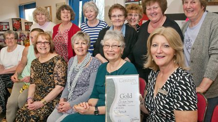 Slimming World's Christine Thorpe with some of her members celebrating being given gold status.
