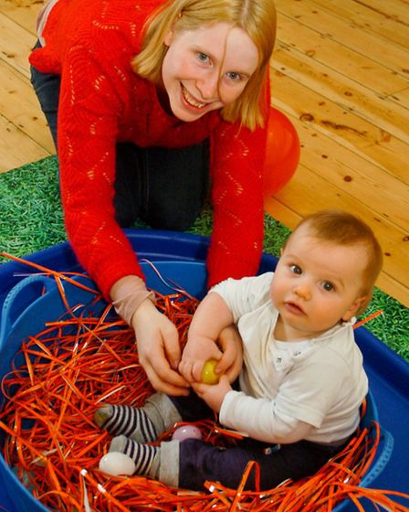 Little Teds stay and play messy group nominated for award, Backwell Parish Hall. Archie with mum Jen