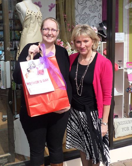 Mother's Day competition winner Michelle Wood with Julie Bisacre of Present Company