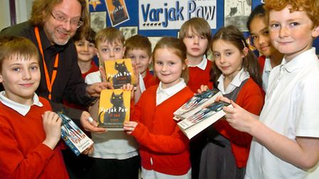 Yeo Moor Primary School, Clevedon pupils with author SF Said