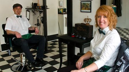 New barber shop just opened Ansons Barbers, Drove Road Gary Anson and Terina Pavey.