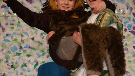 Toby and Arthur in Fairfield School's production of Androcles and the Lion.