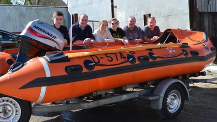 Mercedes-Benz staff with the display lifeboat.