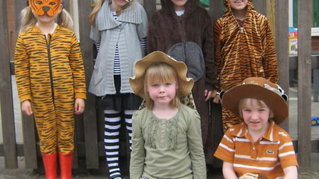 Pupils at Golden Valley Primary School enjoying a safari day.