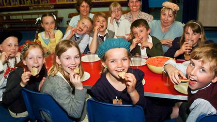 Golden Valley Primary School, Nailsea children and teachers enjoying their VE Day party.