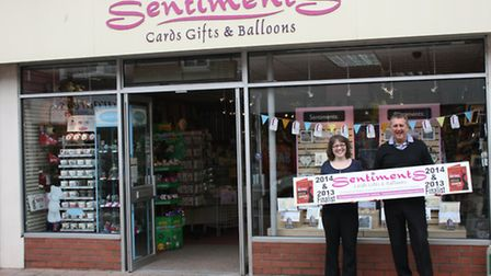 John and Karen Lyons, owners of Sentiments greeting card shop in Burnham, which has been recognised