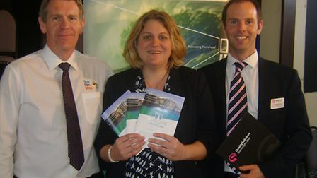 Portishead Chamber of Trade president Victoria Hancock with chamber member Mark Yates (left) of Scan