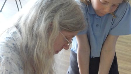Cecilia Busby during her visit to High Down Junior School