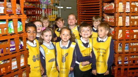 Kingshill schoolchildren having a tour of Tesco supermarket, Nailsea.