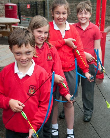 Hotshot archers James, Ruby, Aimee and Ethan.