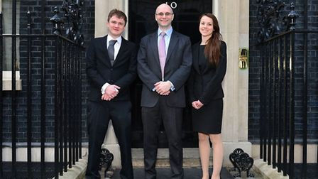 Charlotte Allan at 10 Downing Street with Dominic Gill, apprenticeship lead at Microsoft (pictured c