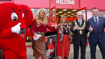 Opening of the British Heart Foundation furniture store, Weston by TV presenter Celia Sawyer.