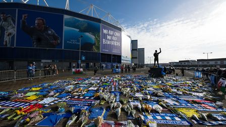 Tributes left to Emiliano Sala at the Cardiff Stadium. Photo: Getty Images
