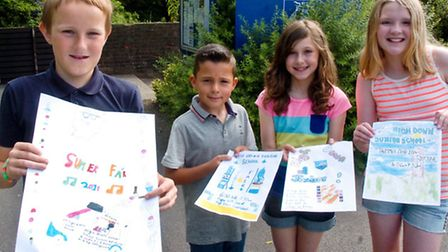 High Down Junior school, Portishead, posters designed for school fair with the winner Oliver and Lau