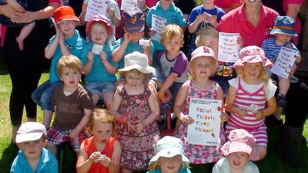 Stonecroft day nursery, High Street Yatton, Children with magnets supporting diabetes awareness camp
