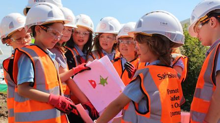 Pupils from High Down Junior School prepared a time capsule that was buried as part of the ceremony