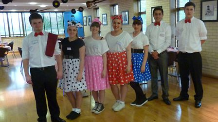 Year 12 students dressed up for the 1950s evening