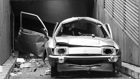 The remains of Airey Neave's car on the underground car park ramp at the House of Commons. Photo: PA